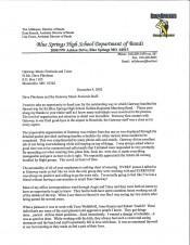 Blue Springs Testimonial Letter