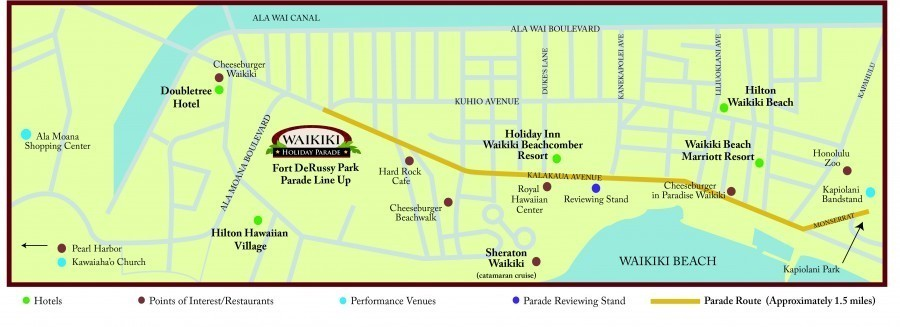 Waikiki Holiday Parade Route Map